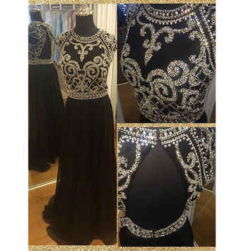 Gorgeous Floor Length Sleeveless Beaded Bodice Prom Dresses pst0031