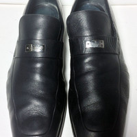 GUCCI Black Leather Loafers Men's Shoes Size 10