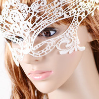 White Halloween Masquerade Party Lace Mask