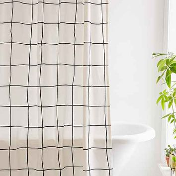 Wonky Grid Shower Curtain