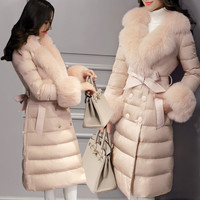 Free Shipping New 2015 Winter Luxury Fox Fur Medium-long Female Down Coat Lacing Over-the-knee Thickening Silm Women Outerwear