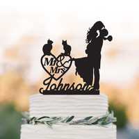 Personalized Wedding Cake topper with cat,  groom lifting bride with mr and mrs cake topper. custom wedding cake topper with heart decor