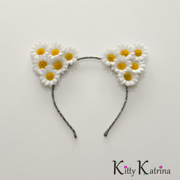 White Cat Ear Headband, Floral Cat Ears, White Flower Headband, Coachella, Electric Daisy Carnival, Nightmare Festival, Ultra Music Festival