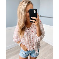 Love At First Sight Floral Blouse- Ivory