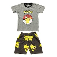 Summer  Pikachu Cotton Cartoon Pikachu Sest Kids Boy Costume 2pcs Set T-shirt+Shorts Cosplay Clothing Pajamas NightwearKawaii Pokemon go  AT_89_9
