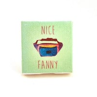"Fanny Pack Canvas Magnet - 2"" x 2""- Kitchen magnet, refrigerator magnet, home accessory, home decor"