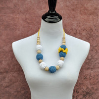 Nursing Necklace, Teething Necklace, Teething Ring- Yellow, Blue, and White - Eco Baby Teething- Eco Mom Jewelry