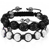 BodyJ4You 2PCS Disco Ball Bracelets 9 Beads Black Clear Pave Crystals Iced Out Jewelry