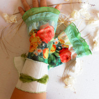 FREE SHIPPING Floral Fingerless gloves arm warmers fingerless gloves gloves Women fashion roses and flowers Mother's Day gift