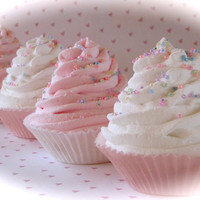 """Fake Cupcakes Standard """"Pink and White Cupcake Collection"""" Set 5 Fabulous Photo Props, Cupcake Topper Props, Bakery Decor, House Staging"""