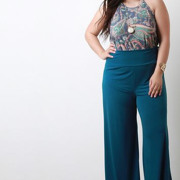 Stretchy Soft Knit Wide Legs Pants