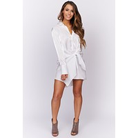 It's A Must Metallic Button Up Dress (Off White)