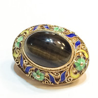 Gilded Silver Brooch, Enamel, Chinese Export, Agate, Flowers, Cannetille