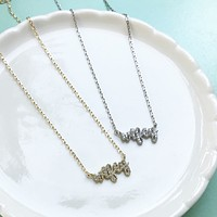Wifey sterling silver necklace
