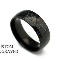 Wide Unisex Engraved Stainless Steel Black Ring 8mm - Personalized Steel Ring - Double Line Engraved Black Ring - Personalized Black Ring