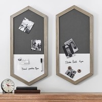 Wood Framed Hexagon Wall Organizer, Brushed Fog