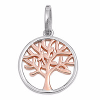 "Sterling Silver Rose Tone Tree of Life Wicca Pendant 20MM (FREE 18"" Chain)"