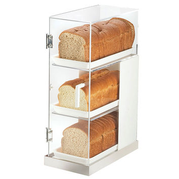 7W x 14D x 20.25H Luxe Three Tier Bread Display White Metal Frame/Stainless Steel Base