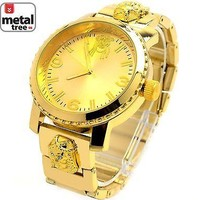 Jewelry Kay style Men's Hip Hop 14k Gold Plated Luxury Metal Band Techno Pave Watches 6937 G JF