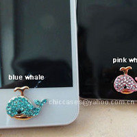 diamond whale -- Bling iPhone home button sticker for Apple iPhone, iPad, Cell Phone Charm