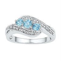 Sterling Silver Women's Round Lab-Created Blue Topaz 3-stone Ring 1/2 Cttw - FREE Shipping (US/CAN)