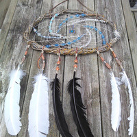 Blue White Dream Catcher - Woodland Elf Elven Dreamcatcher  Willow Branch Dream catcher Gypsy Boho Dreamcatcher - Tribal Indian Dreamcatcher