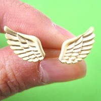 Feather Shaped Angel Wings Stud Earrings in Gold | ALLERGY FREE