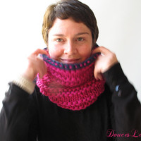 Pink Cowl Scarf. Pure Wool Accessory. Handknit Fashion Winter. Warm Eco Gift