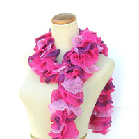 Valentines Day Hand Knit Ruffled Scarf - Pink