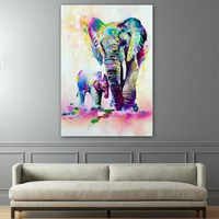Elephant With Son Wall Art Canvas Elephant Decor