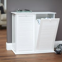 Household Essentails Tilt out Laundry Sorter Shutter Front Cabinet