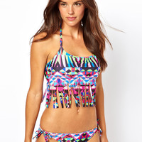 ASOS Geo-Tribal Printed Fringed Halter Crop Bikini Top
