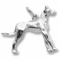 Great Dane Dog Charm In Sterling Silver