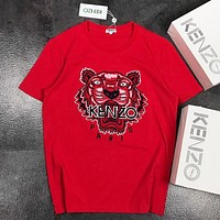 KENZO New fashion embroidery letter tiger couple top t-shirt Red