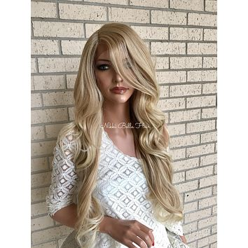 Light Ash Blond Human Hair Blend Multi Parting Lace Front Wig - Lisa
