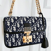 Onewel Dior Oblique black and navy rock and roll metal logo bag lock embellishment high canvas wide shoulder strap