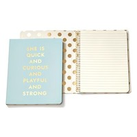 kate spade new york 'she is quick and curious' spiral notebook - Blue