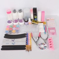 Acrylic Powder Liquid French Primer Decoration Kits Nail Art DIY Rhinestones Tips Brush Stickers Set