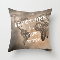 Adventure is out there. Stars world map. Sepia Throw Pillow by Guido Montañés
