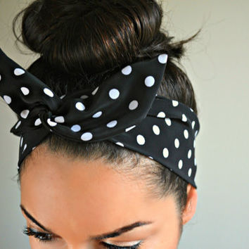 Black Polka dot dolly bow head bands, Polka dot turban