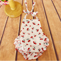 2015 New Arrival Retail Baby Clothes ,Cherry Baby Bubble Romper,Halter Back and Ruffle Bottom Girls romper Jumpsuit for 3T