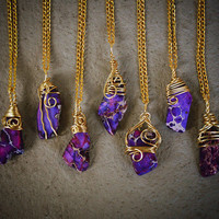 Purple Sea Sediment Wrapped in Gold Free Shipping