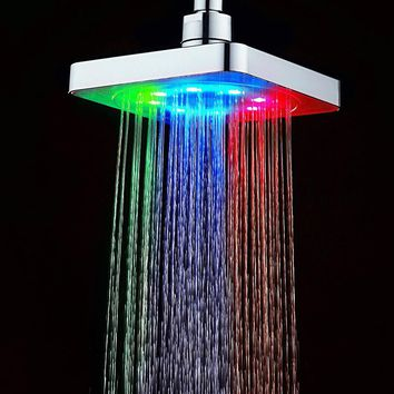 Hot Sale 6 Inch Square 7 Colors Changing LED Shower Head Bathroom Rainfall Shower Heads Waterfall Shower Head