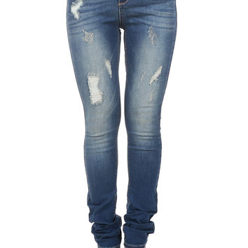 Women's Med Rise Distressed Skinny