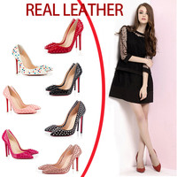 8/10cm High Heels rivets Real Genuine Leather Women Pumps For Girls Ladies Casual Walking Party Wedding Office Work Shoes - ALX-BDS