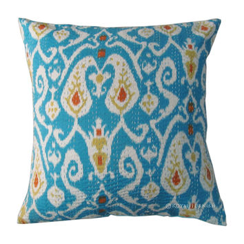 "24"" Turquoise Indian Ikat Kantha Cotton Throw Pillow Cushion Cover"