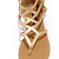 Dollhouse Athens Gold Gladiator Sandals