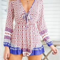 Multicolor  V-neck Pop Printed Long Sleeve Romper