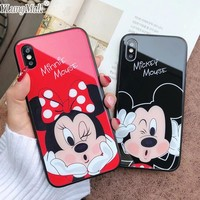 YLungMall Luxury Tempered Glass Case for iPhone X 7 Plus Back Cover Minnie Mickey Mouse Case Coque for iPhone 6 6S 8 Plus Cases