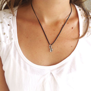 Victory Peace Hands in Sterling Silver Pendant with silky cotton cord necklace - Original Small Hand Silver Necklace symbol of peace victory